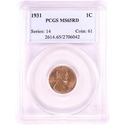 1931 Lincoln Wheat Cent Coin PCGS MS65RD