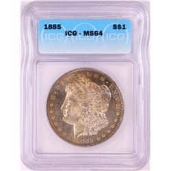 1885 $1 Morgan Silver Dollar Coin ICG MS64