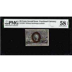 1863 25 Cents Second Issue Fractional Note Fr.1283 PMG Ch. About Uncirculated 58EPQ