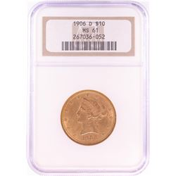 1906-D $10 Liberty Head Eagle Gold Coin NGC MS61