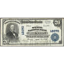 1902 $20 State NB of Houston, TX CH# 12070 National Currency Note