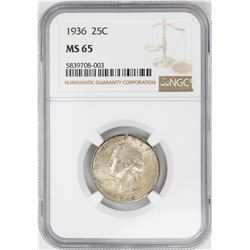 1936 Washington Quarter Coin NGC MS65