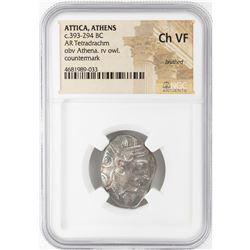 393-294 BC Attica Athens AR Tetradrachm Athena Owl Coin NGC CH VF