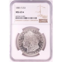 1881-S $1 Morgan Silver Dollar Coin NGC MS63* Star