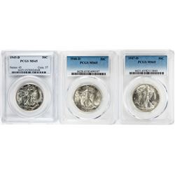 Lot of 1945-D to 1947-D Walking Liberty Half Dollar Coins PCGS MS65