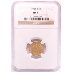 1907 $2 1/2 Liberty Head Quarter Eagle Gold Coin NGC MS61