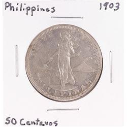 1903 Philippines 50 Centavos Silver Coin