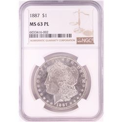 1887 $1 Morgan Silver Dollar Coin NGC MS63PL