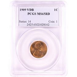 1909 VDB Lincoln Wheat Cent Coin PCGS MS65RD