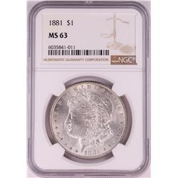 1881 $1 Morgan Silver Dollar Coin NGC MS63