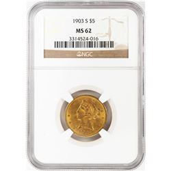 1903-S $5 Liberty Head Half Eagle Gold Coin NGC MS62