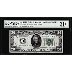1928 $20 Federal Reserve STAR Note Minneapolis Fr.2050-I* PMG Very Fine 30