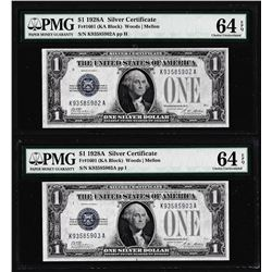 (2) Consecutive 1928A $1 Funnyback Silver Certificate Notes PMG Ch. Uncirculated 64EPQ