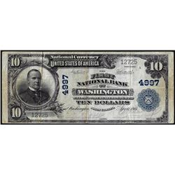 1902PB $10 First NB of Washington, North Carolina CH# 4997 National Currency Note