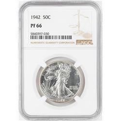 1942 Proof Walking Liberty Half Dollar Coin NGC PF66
