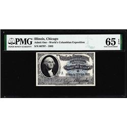 1893 World's Columbian Exposition Ticket Washington PMG Gem Uncirculated 65EPQ