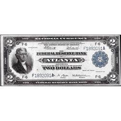 1918 $2 Battleship Federal Reserve Bank Note Atlanta Fr.764