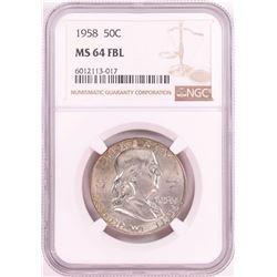 1958 Franklin Half Dollar Coin NGC MS64FBL