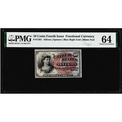 1863 Ten Cents Fourth Issue Fractional Note Fr.1261 PMG Choice Uncirculated 64