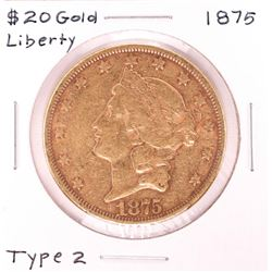 1875 $20 Type 2 Liberty Head Double Eagle Gold Coin
