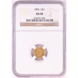 1853 $1 Liberty Head Gold Coin NGC AU58