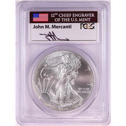 2014 $1 American Silver Eagle Coin PCGS MS70 John Mercanti Signature