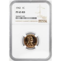 1942 Proof Lincoln Wheat Cent Coin NGC PF65RD