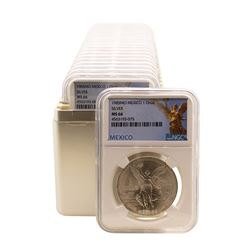Lot of (20) 1985Mo Mexico 1 Onza Libertad Silver Coins NGC MS66