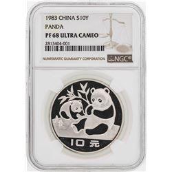 1983 China 10 Yuan Panda Silver Coin NGC PF68 Ultra Cameo