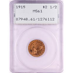 1915 $2 1/2 Indian Head Quarter Eagle Gold Coin PCGS MS61 Old Rattler Holder