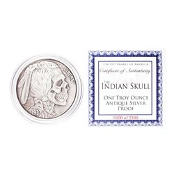 United Snakes of America Indian Skull 1 oz Antique Silver Proof Round w/COA