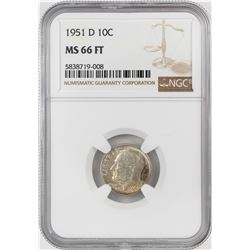 1951-D Roosevelt Dime Coin NGC MS66FT