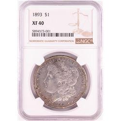 1893 $1 Morgan Silver Dollar Coin NGC XF40
