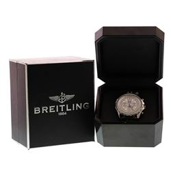 Men's Breitling Bentley 6.75 Stainless Steel Silver Chronograph Watch w/Box & Papers