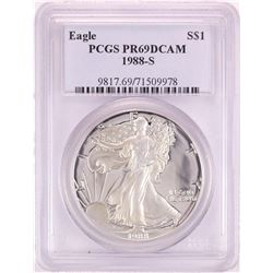 1988-S $1 Proof American Silver Eagle Coin PCGS PR69DCAM