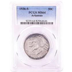 1936-S Arkansas Centennial Commemorative Half Dollar Coin PCGS MS64