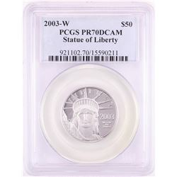 2003-W $50 Proof American Platinum Eagle Coin PCGS PR70DCAM