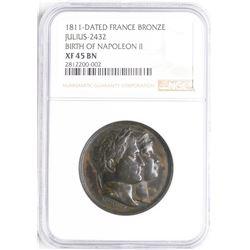 1811 France Boronze Julius-2432 Borth of Napoleon II Medal NGC XF45 BN
