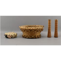 PENOBSCOT INDIAN LIDDED SEWING BASKET