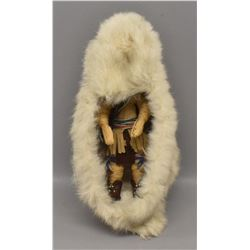 IROQUOIS INDIAN CORN  HUSK DOLL AND CRADLE