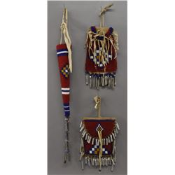 PLAINS INDIAN BEADED POUCHES AND AWL CASE