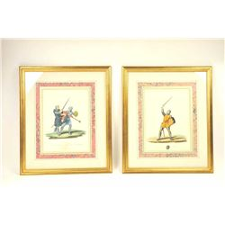 Lot of antique Italian prints of men in armor  with arms.  Expensively framed and matted to  match a