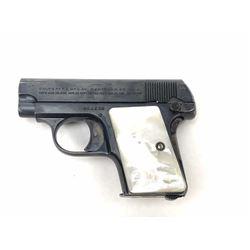 Colt Model 1908 semi-automatic pistol, Serial  #380138, .25 ACP caliber in nearly fine  original con