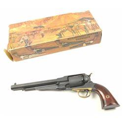 Pietta 1858 Remington reproduction black  powder revolver, #A19966, matte black finish  with brass t