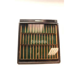 Original Remington Cutlery Display Case with  bullet logo at top. Wood separators replaced,  good ov