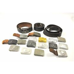 Lot of 17 German buckles and three leather  belts all authentic items.  A lifetime  collection inclu