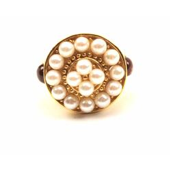 One beautiful hand crafted cluster pearl ring  set with 2 pink sapphire cabochons in 18 k  gold Est: