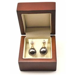 One pair of very fine Tahitian 12.5mm black  pearl drop earrings, beautifully designed in  14k yello