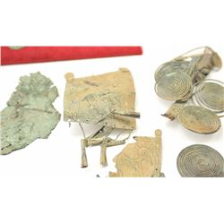 Lot of authentic ancient Bronze Age  artifacts, dagger, decorations, jewelry and  other items.  The