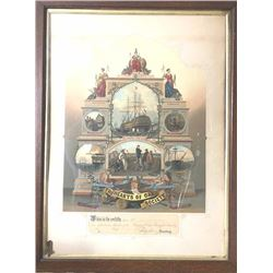 "Original 19th century colored lithograph  showing a British Naval scene from ""Hearts of  Oak Society"